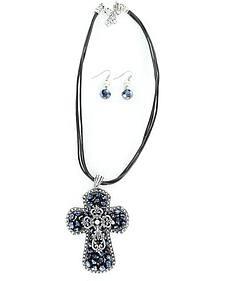 Blazin Roxx Black Beaded Cross Pendant Necklace & Earrings Set