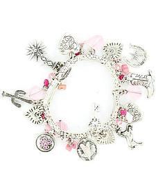 Blazin Roxx Pink Beaded Silver-tone Western Charm Bracelet