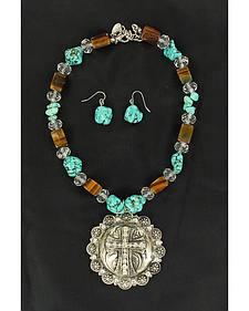 Blazin Roxx Fancy Concho & Faux Turquoise Beaded Necklace & Earrings Set