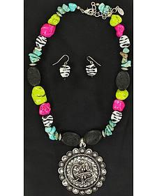 Blazin Roxx Cowgirl Concho Beaded Necklace & Earrings Set