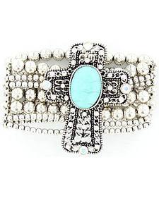 Blazin Roxx Silver-tone Beaded Faux Turquoise Cross Concho Bracelet