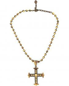 Blazin Roxx Beaded Cross Pendant Necklace