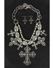 Blazin Roxx Chunky Cross Charm Necklace & Earrings Set