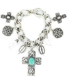 Blazin Roxx Cross & Concho Charm Bracelet