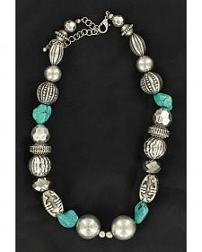 M&F Western Fancy Silver-Tone & Turquoise Beaded Necklace