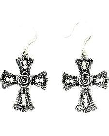 Blazin Roxx Cross with Rose Earrings