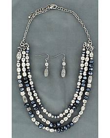 Blazin Roxx Fancy Navy Blue & Silver-tone Beaded Necklace Set