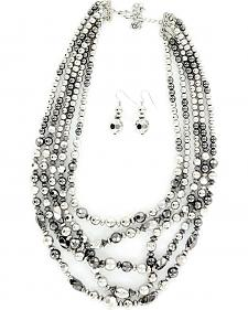 Blazin Roxx Shiny Silver-tone Beaded Necklace & Earrings Set