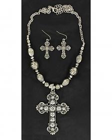 Blazin Roxx Hematite Cross Pendant Necklace & Earrings Set