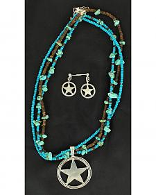 Blazin Roxx Beaded Star Pendant Necklace & Earrings Set