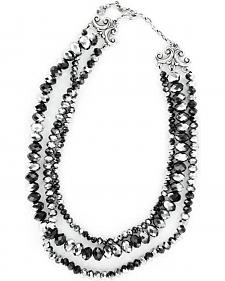 Triple Strand Black & Silver Beaded Necklace
