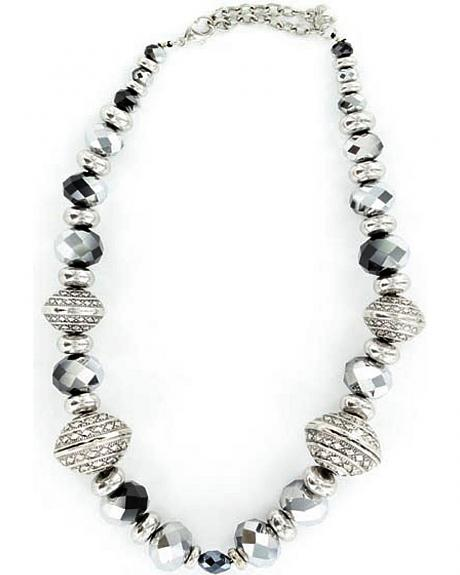 M&F Western Silver & Black Beaded Necklace