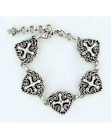 Blazin Roxx Heart & Cross Charm Bracelet