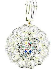 Clear Rhinestone Concho Necklace Pendant