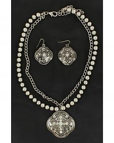 Blazin Roxx Fancy Pendant w/ Rhinestone Cross Necklace & Earrings Set