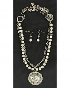 Blazin Roxx Horse Head Concho Necklace & Earrings Set