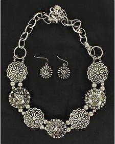 Blazin Roxx Fancy Concho Necklace & Earrings Set