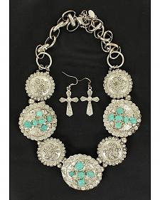 Blazin Roxx Fancy Concho Turquoise Stone Cross Necklace & Earrings Set