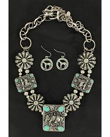 Blazin Roxx Rectangle Concho & Faux Turquoise Necklace & Earrings Set