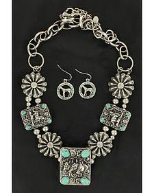 Blazin Roxx Rectangle Concho & Faux Turquoise Necklace & Earrings Set