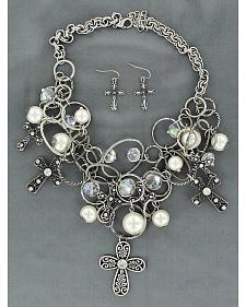Blazin Roxx Rings & Cross Charms Necklace & Earrings Set