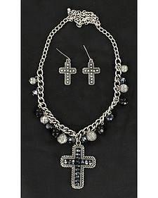 Blazin Roxx Black Beaded Cross Charm Necklace & Earrings Set