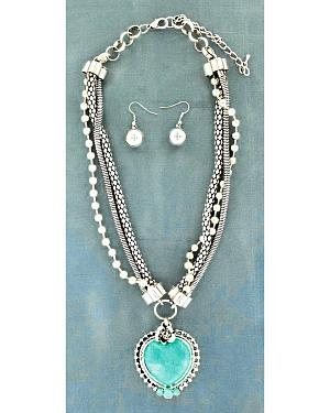 Blazin Roxx Faux Turquoise Stone Heart Pendant Necklace & Earrings Set