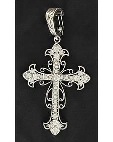 Rhinestone Encrusted Cross Necklace Pendant