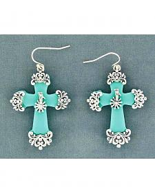 Blazin Roxx Cross with Rowel Earrings