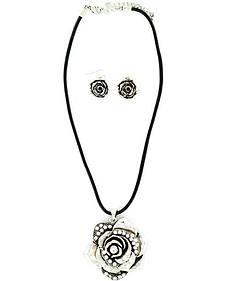 Blazin Roxx Rhinestone Rose Necklace & Earrings Set