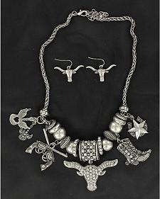 Blazin Roxx Longhorn & Boot Charms Necklace & Earrings Set
