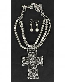 Blazin Roxx Silver-Tone Beaded Cross Pendant Necklace & Earrings Set