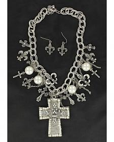 Blazin Roxx Cross & Fleur-de-lis Charms Cross Pendant Necklace & Earrings Set