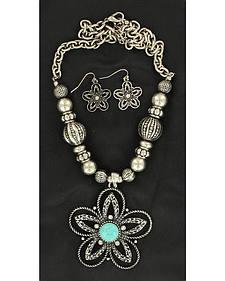 Blazin Roxx Rope Floral Pendant & Faux Turquoise Necklace & Earrings Set