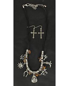 Blazin Roxx Faux Stone Beaded Western Charms Necklace & Earrings Set
