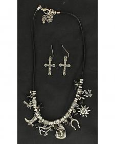 Blazin Roxx Faux Stone Beaded Western Charms Necklace & Earrings Set