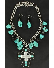 Blazin Roxx Black & Turquoise Stone Cross Necklace & Earrings Set