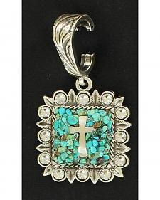 Turquoise Chip Cross Necklace Pendant
