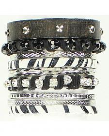Blazin Roxx Zebra Print Emebllished Bangle Bracelet 10-Piece Set