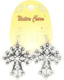 Blazin Roxx Western Charm Embellished Cross Earrings