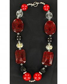 Blazin Roxx Black & Red Beaded Necklace