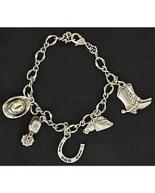 Blazin Roxx Silver-tone Western Charm Bracelet