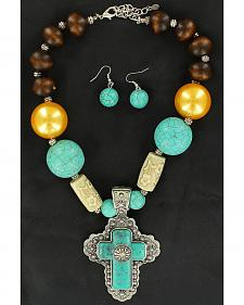 Blazin Roxx Wooden & Turquoise Beaded Cross Necklace & Earrings Set