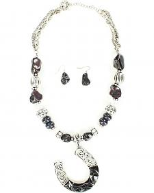 Blazin Roxx Horseshoe Beaded Necklace & Earrings Set