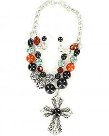 Blazin Roxx Beaded Cross Necklace & Earrings Set