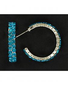 Blazin Roxx Blue Rhinestone Hoop Earrings