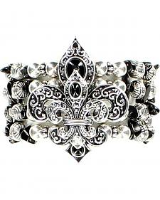 Blazin Roxx Beaded Fleur-de-lis Stretch Bracelet
