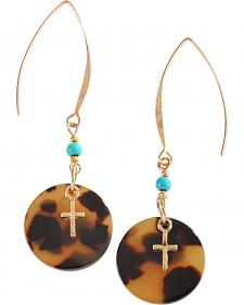 Justin Gold Cross Tortoise Shell Drop Earrings