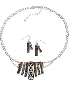 Cindy Smith Patina & Silver Bar Necklace & Earrings Set