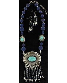 Blazin Roxx Turquoise Beaded Concho Necklace & Earrings Set